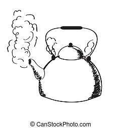 a boiling kettle and steam on a white background