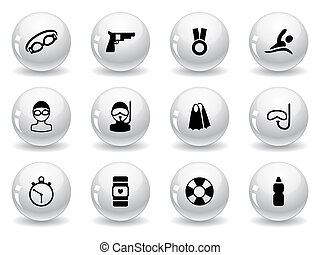Web buttons, swimming icons