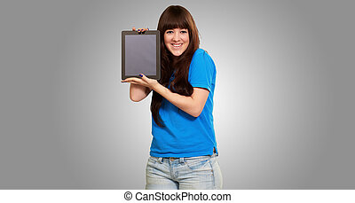 Woman Holding Ipad Isolated On Gray Background