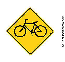road sign - bike crossing, isolated