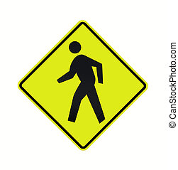 road sign - crosswalk fluorescent