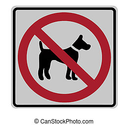 no dogs allowed sign isolated, seen at highway rest stop -...