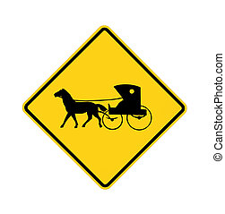 road sign - Amish buggy and horse
