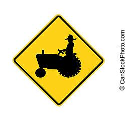 -, strada, trattore, segno
