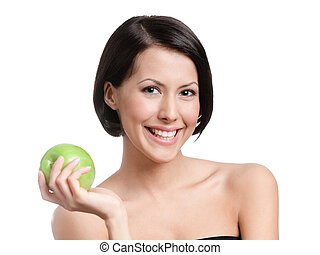 Lovely woman hands an apple, isolated, white background