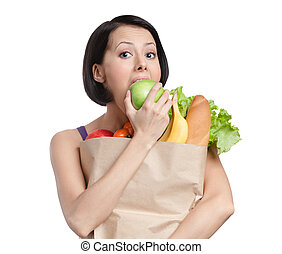Vegetarian girl eats an apple - Vegetarian girl eats a green...