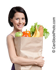 Losing weight program - Attractive girl with the packet of...