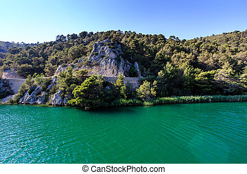 National Park Krka and River Krka near Town of Skradin,...