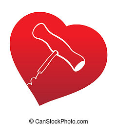 corckscrew on read heart background - Closeup photo of...