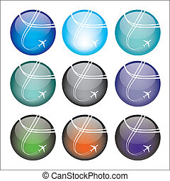 Set of airplane sphere icons - Vector illustration of...