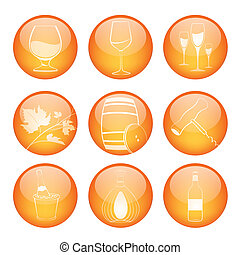 Set of winery sphere icons - Vector illustration of coloured...