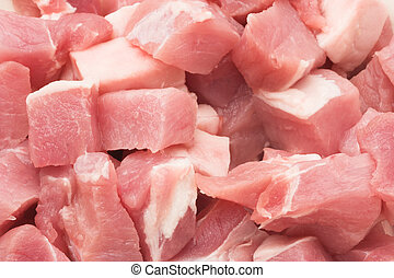 Fresh pork meat - Pieces of fresh pork meat ready for...