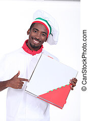 Italian themed chef pointing at a take out pizza box