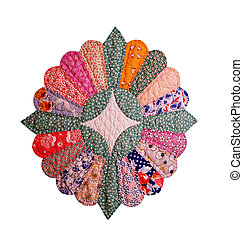 Colorful 1920's quilt block isolated - Colorful quilt block...