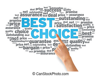 Best Choice - Hand pointing at a Best Choice Word Cloud on...