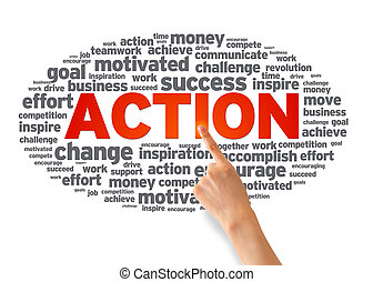 Action - Hand pointing at a Action Word Cloud on white...