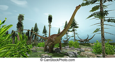 Diplodocus World - A herd of Diplodocus dinosaurs munch...