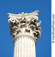 corinthian column against blue sky
