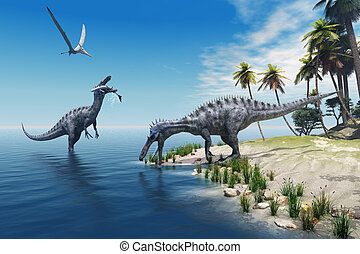 Suchomimus Dinosaurs - A large fish is caught by a...