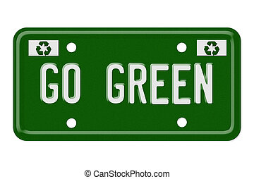 Go green - The words go green on a green license plate...