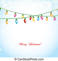 christmas lights - christmas balls over blue background with...