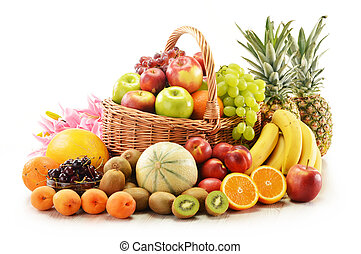 Composition with assorted fruits in wicker basket isolated...