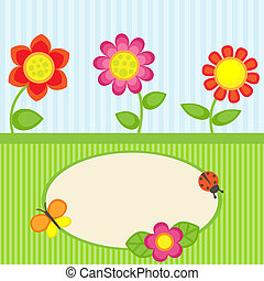 Flowers and butterfly - Background with flowers and frame