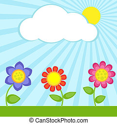 Flowers and cloud - Background with flowers and frame