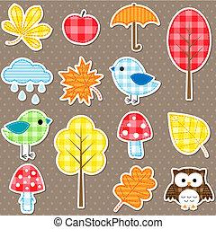 autumn - Autumn stickers - trees, leafs, mushrooms and birds