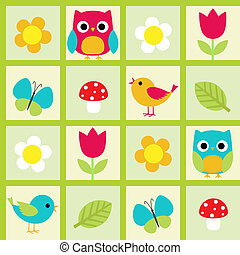 birds and flowers - Seamless vector pattern with birds and...
