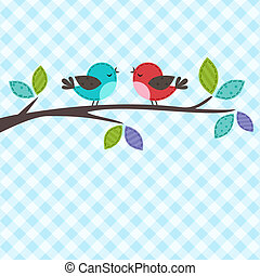 couple of birds - Vector backgrounds with couple of birds on...