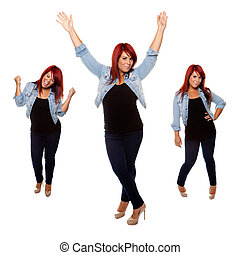 Happy Weight Loss Girl - Young woman proudly shows off her...