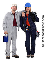 Painter and electrician standing side by side
