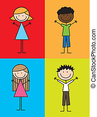 kids drawing - cute kids drawing over colorful squares...