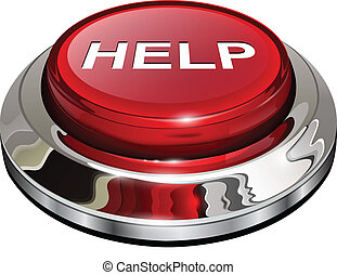 Help button, 3d red glossy metallic icon, vector.