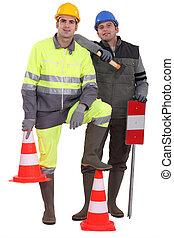 Un, equipo, tráfico, guardias
