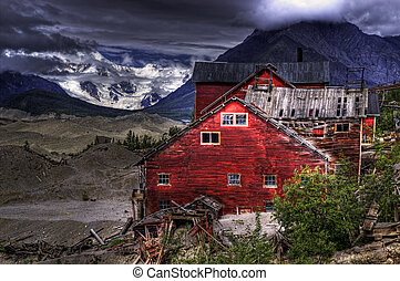 Kennecott Mine with glacier - Old buildings of the Kennecott...