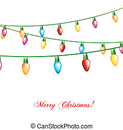 christmas lights isolated over white background vector...