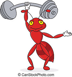 Strong red ant cartoon character