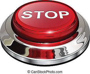 Stop button, 3d red glossy metallic icon, vector.