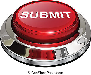 Submit button, 3d red glossy metallic icon, vector.