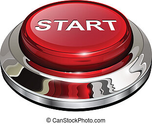 Start button, 3d red glossy metallic icon, vector