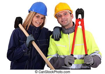 macho, hembra, manual, trabajadores