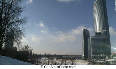 moscow city business center in winter exterior