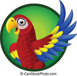 Macaw cartoon character - vector illustration of Macaw...