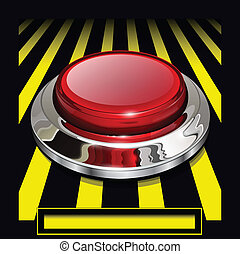alarm button - Red alarm chrome shiny button background,...