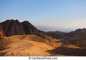 The desert Sinai and Red sea - Winter morning in desert...