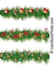 christmas garland with balls, stars and lights vector...