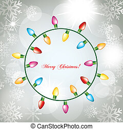 christmas lights on abstract white lights background. vector
