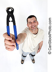 Man with a pair of pliers